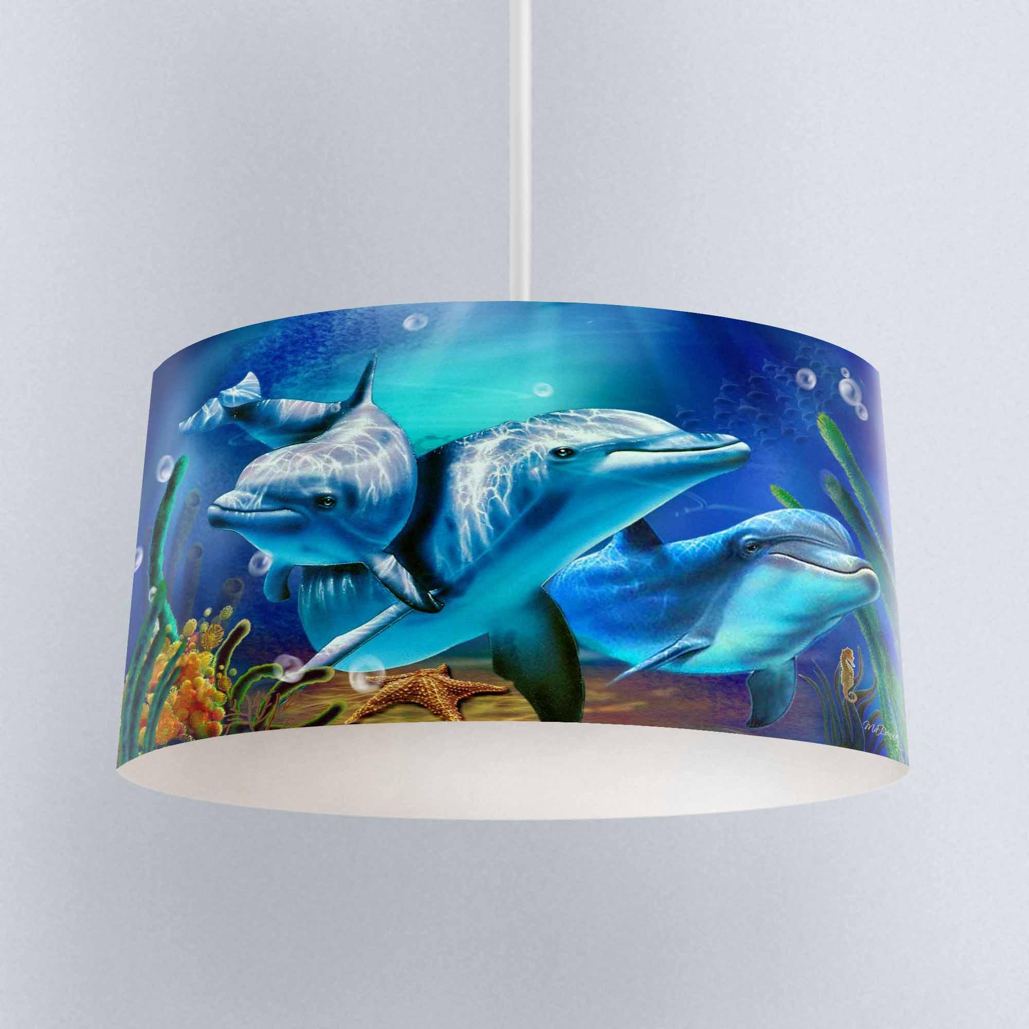 Işıklar ve Aydınlatma'ten Lamba Kapakları ve Storlar'de Başka bir mavi altında deniz balıkları yunuslar dijital baskılı kumaş avize lamba davul abajur zemin asma tavan ışığı gölge title=