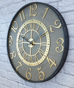 Markakanvas metalowy marmurowy wzór złoty (złoty) kolorowy zegar ścienny 50cm tanie i dobre opinie TR (pochodzenie)