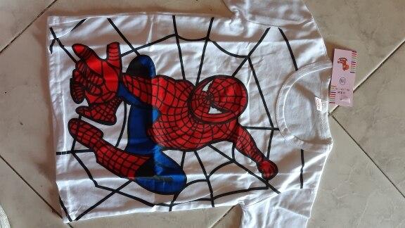 Children Short Sleeve T-Shirts Cartoon Spiderman Headphone Print Baby Boy Girl Kid Summer Blouse Clothes Casual Tee Top photo review