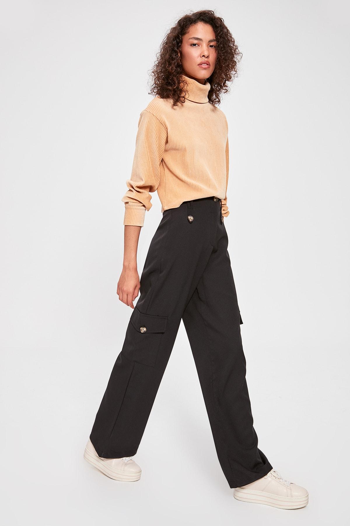 Trendyol Black Pocket Detail Pants TWOAW20PL0431