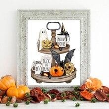 Imprimés sur toile de signes d'halloween, affiche de jeu, tableau d'art mural d'halloween, décoration, peinture, idée de cadeaux d'halloween