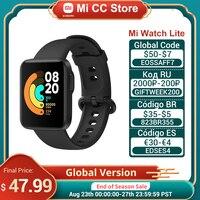 Xiaomi-reloj inteligente Mi Lite versión Global, reloj deportivo inteligente resistente al agua hasta 5atm, con pantalla táctil de 1,4 pulgadas, GPS, monitor de ritmo cardíaco y Fitness