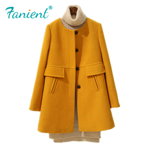New 2019 Spring Autumn Plus Size Wool Coat Women Loose A-line Long Sleeved Mediu