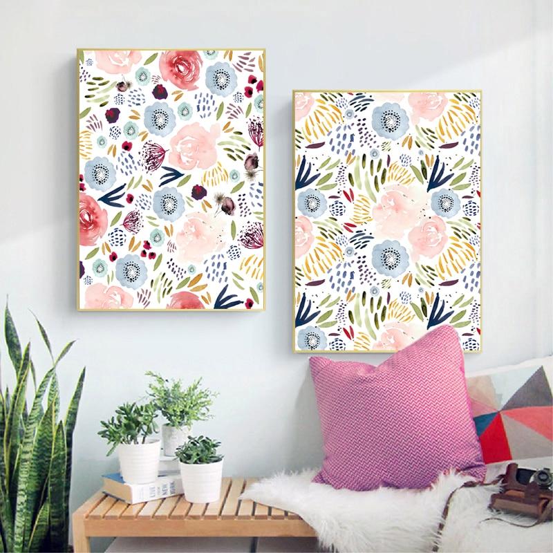 Картина акварелью с цветочным принтом, розовые цветы, минималистичные постеры, детские настенные художественные картины для девочек, декор для комнаты и спальни|Рисование и каллиграфия|   | АлиЭкспресс