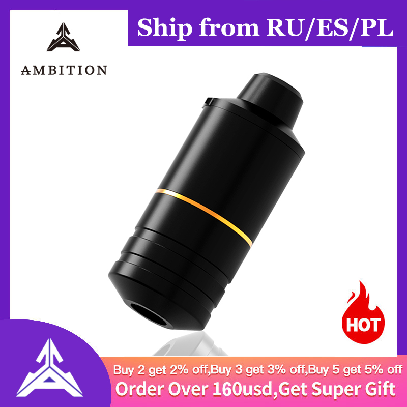 Ambition Rotary Tattoo Pen Machine Swiss Engine 8V 10000rpm Best Machine For Lining And Shadering 38mm Grip For Male Big Hand