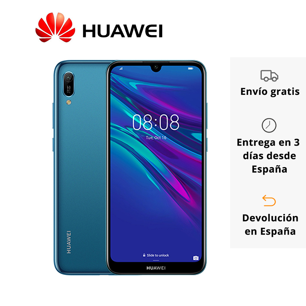 """Huawei Y6 (2019) 32GB Sapphire Blue mobile Smartphone 6.09 """"Ram 2GB camera 13MP 3020 mAh Android 9.0"""