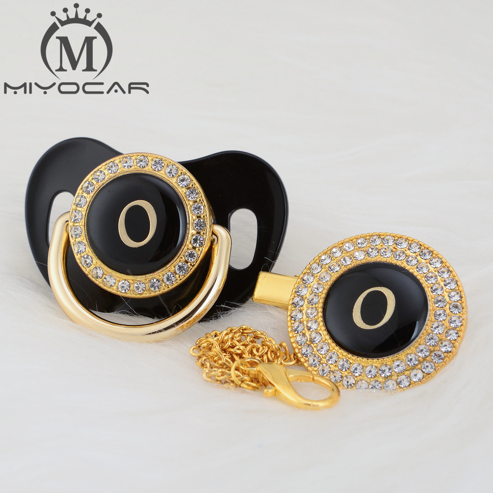 MIYOCAR Name Initial Letter O Elegant Silver Bling Pacifier And Pacifier Clip BPA Free Dummy Bling Unique Design LO