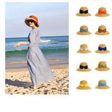 Летняя женская соломенная шляпа с бантиком от солнца ведущего