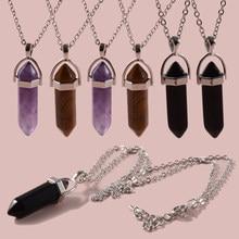 Collana girocollo in cristallo cilindrico esagonale in pietra naturale in acciaio inossidabile 1PC collana girocollo in pietra naturale per donne
