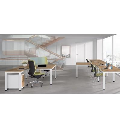 OFFICE TABLE DOUBLE (2 POSTS) EXECUTIVE SERIALS L SHAPE 360x120x80 ALUMINUM/GRAY