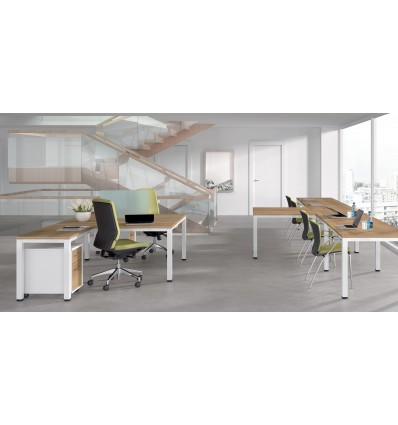 OFFICE TABLE DOUBLE EXECUTIVE SERIALS (2 POSTS) 360x80 ALUMINUM/BEECH