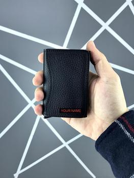 Genuine Leather Wallet Man Women Slim Small Genuine Good Quality Tiny Thin 1682 BLACK GUTTY недорого