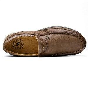 Image 5 - DEVE Hakiki Deri Erkek rahat ayakkabılar Adam Rahat Ayakkabılar Yumuşak Inek Derisi Nefes Erkek Daireler mokasen cuir homme