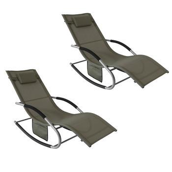 SoBuy®Zestaw 2 ogrodowa fotel bujany krzesło relaksacyjne leżak z torba boczna OGS28-BR x2 tanie i dobre opinie CN (pochodzenie) Nowoczesne Meble do salonu OGS28-BRX2 Minimalistyczny nowoczesny Szezlong Meble do domu