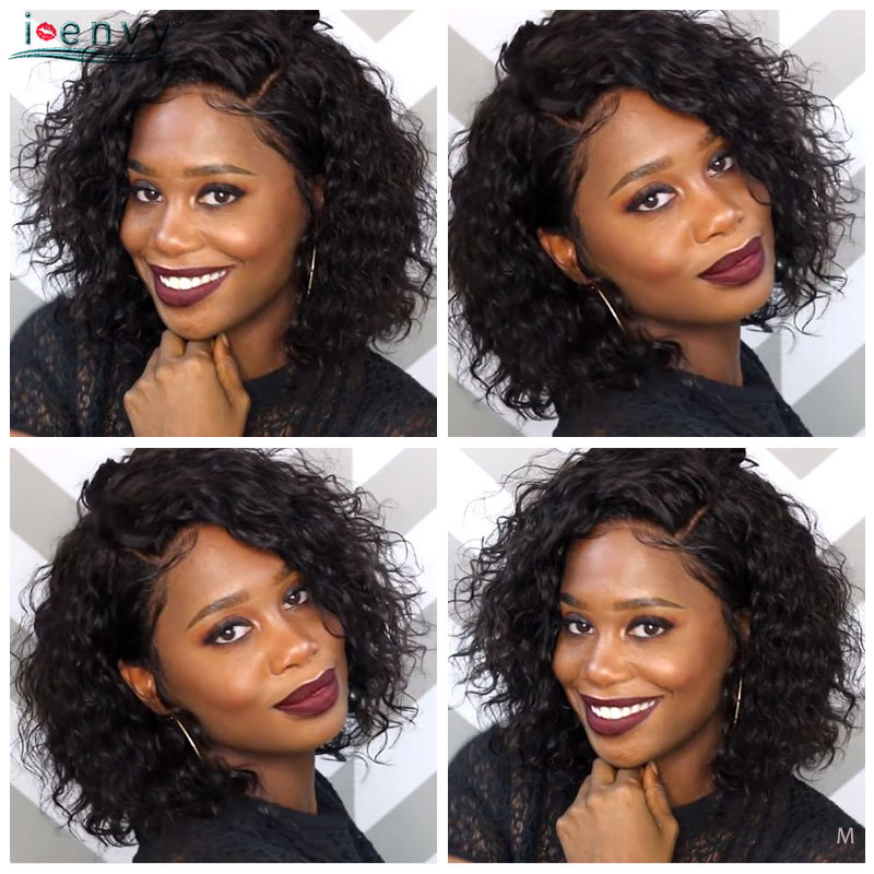 Brazilian Short Curly Lace Front Wig Natural Color 13*2 Pre Plucked Side Part Lace Wig Human Hair For Women 150 Density Remy