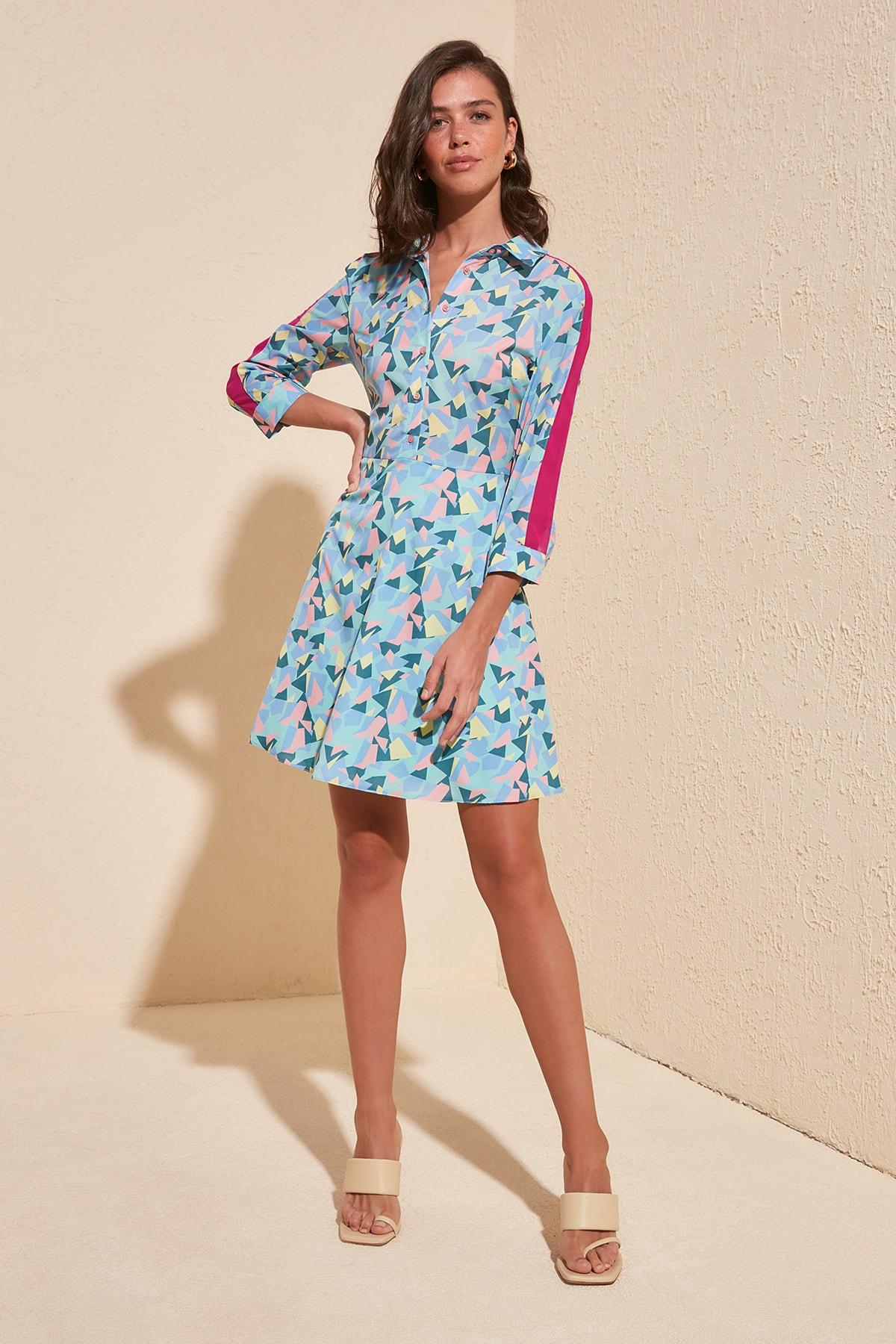 Trendyol Strip Detayllı Dress TWOSS20EL1021