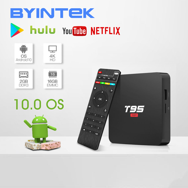 BYINTEK TV Box sistema operativo Android 10.0, 2G 16G 2.4G chip wifi3229, lettore multimediale Netflix Hulu, lettore multimediale 4K Youtube