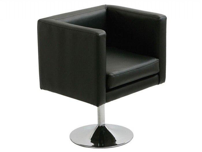 Armchair ALOR, Chrome Finish, Upholstered Black