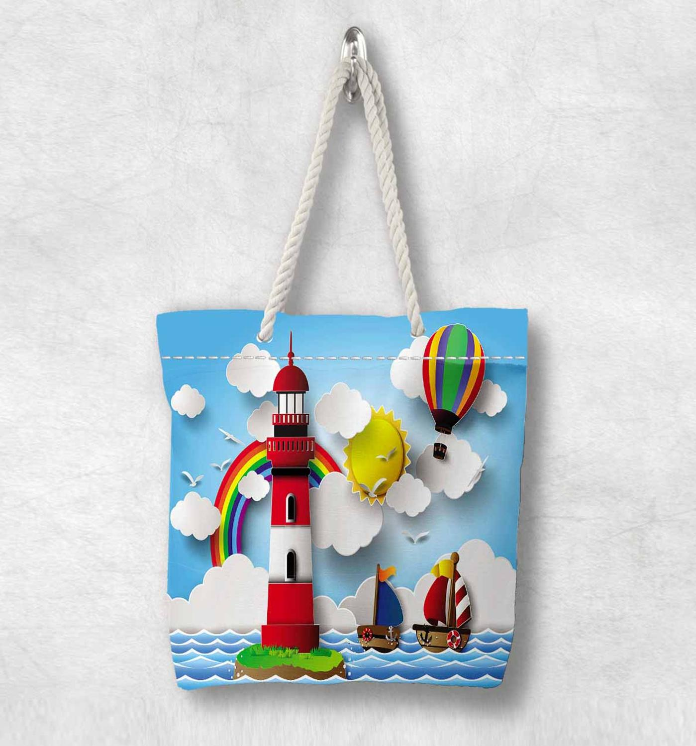 Else Blue Sea Ship Light House Rainbow Clouds Fashion White Rope Handle Canvas Bag  Cartoon Print Zippered Tote Bag Shoulder Bag