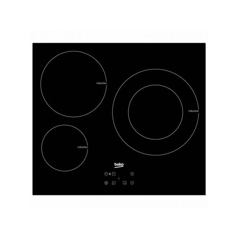 Induction Hob BEKO HII63402AT 60 Cm Black (3 Cooking Zones)