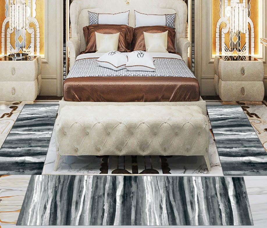 Else 3 Piece Black Grey White Watercolor Lines 3d Print Non Slip Microfiber Washable Decor Bedroom Hallway Area Rug Carpet Set