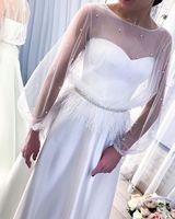 Illusion Long Sleeve White Wedding Dress Feathers Beaded Bohemian Plus Size Satin A Line Women Bridal Gowns Vestidos De Novia