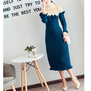 Slim Dress Sweater Long-Sleeve Retro Elegant Winter Temperament Color Autumn Matching