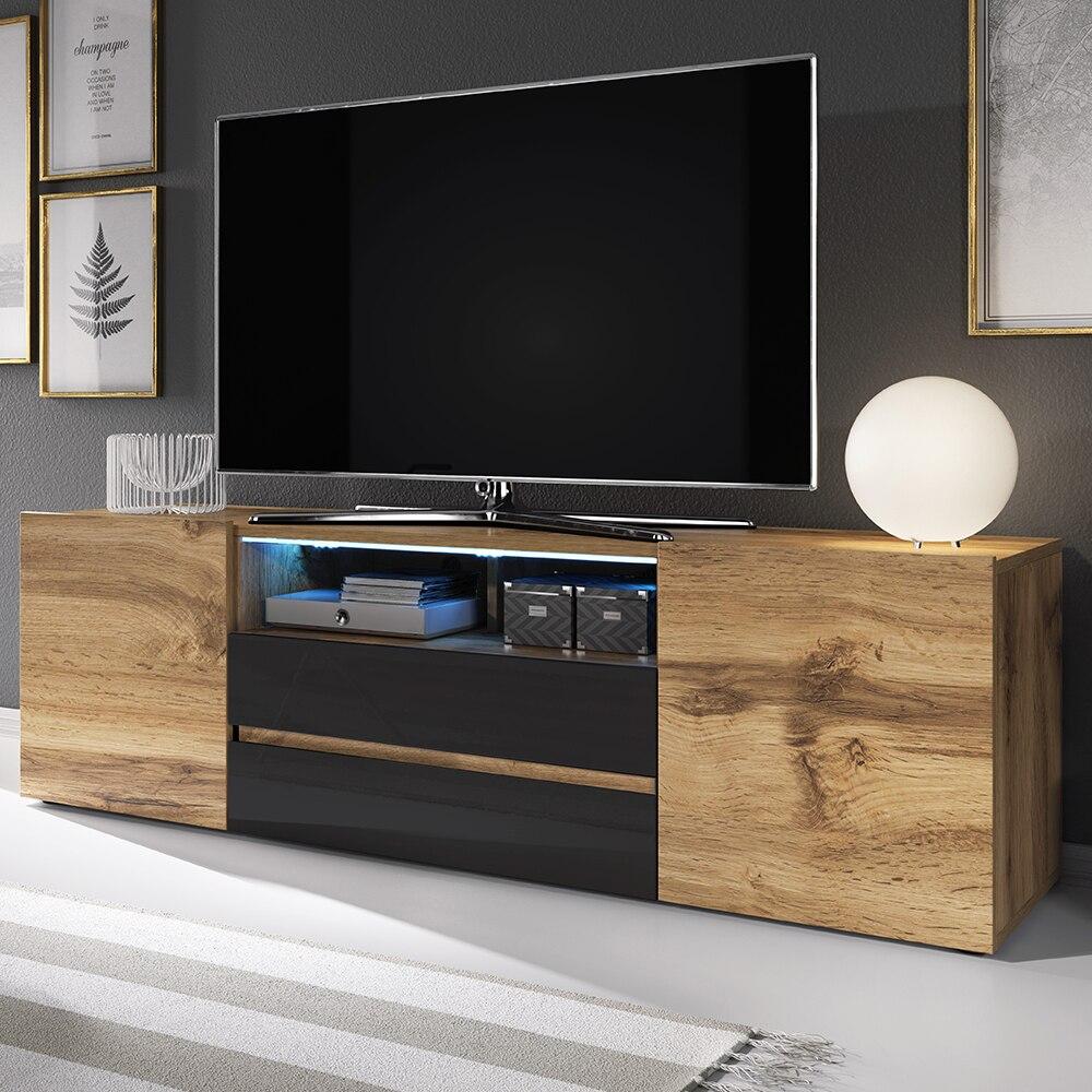 Selsey BROS - Meuble tv / Banc tv (137 cm, chêne wotan / noir brillant, avec LED)