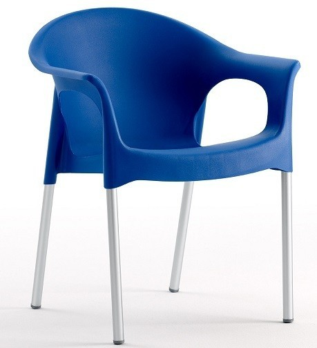 Armchair NILE Aluminum Stackable Polypropylene Blue *