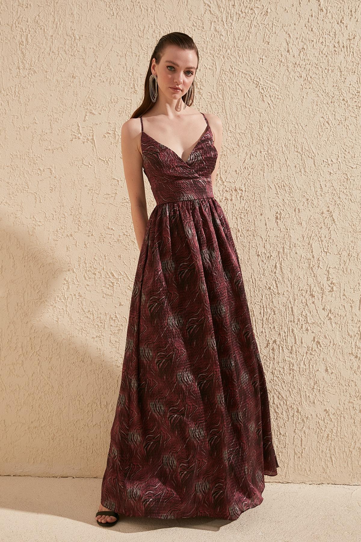Trendyol Back Detailed Jacquard Satin Evening Dress TPRSS20AE0070