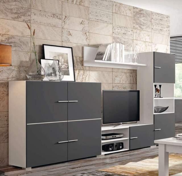 Mueble de salón completo, color blanco y grafito, muebles de TV, apilables ref-191 1