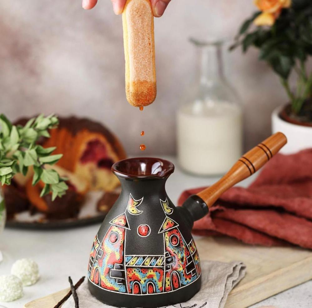 Ceramic Coffee Pot With Wooden Handle. Casserole Knife Copper Set Tea Tableware Gift Plate Handmade
