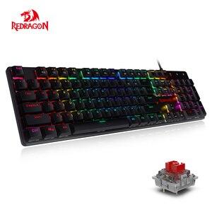 Redragon K589 шрапнель RGB Низкопрофильная Механическая игровая клавиатура с линейными и бесшумными красными переключателями