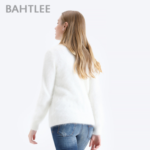 Image 4 - BAHTLEE Women Angora Pullovers Sweater Pure Color  Autumn Winter Wool Knitted Jumper Long Sleeves O Neck Suit Style Basic Style
