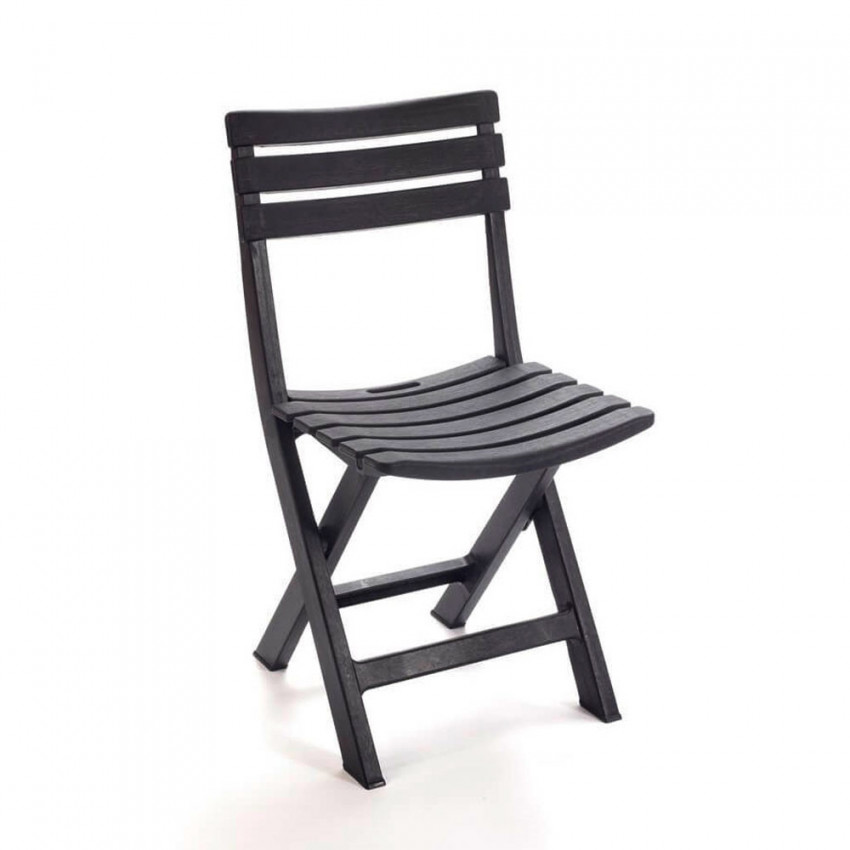 Anthracite Komodo resin folding chair 44x41x78cm Progarden