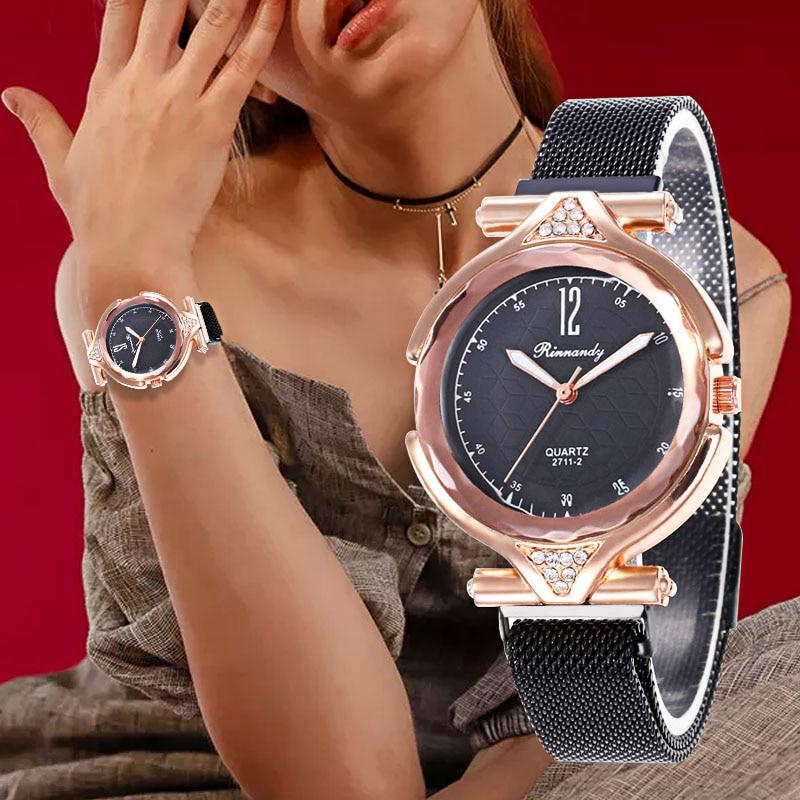 WJ-8564 Luxe Rhinestone Classic Quartz Wristwatch Female Mesh Magnetic Buckle Watches Dress Gift Women Watch Montre Femme 2019