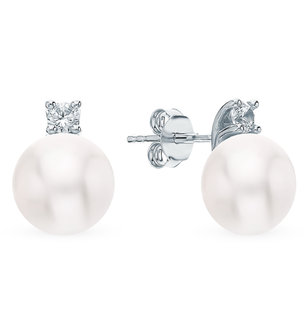 Silver earrings with cubic zirconia and pearls sunlight sample 925