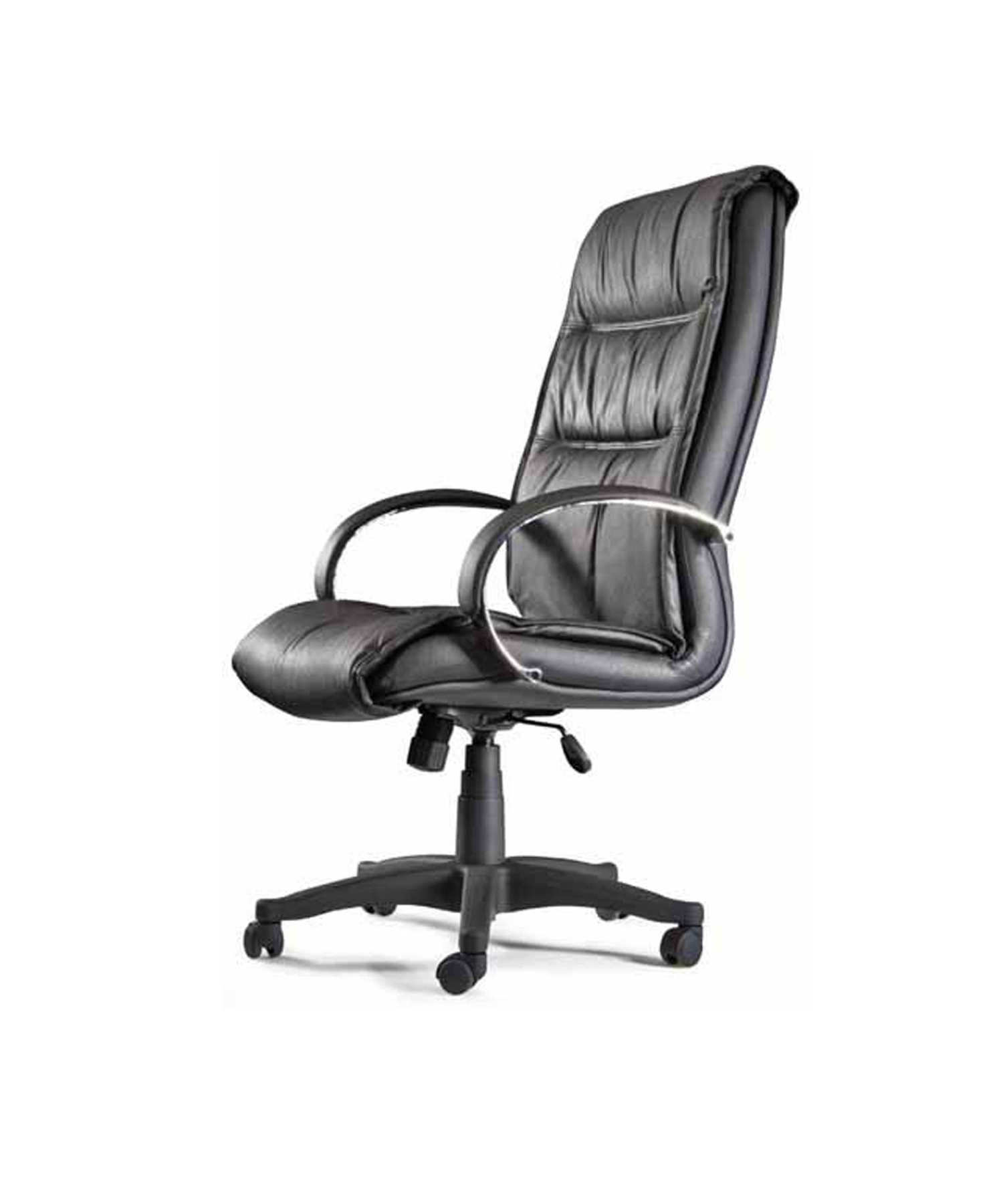 Armchair Ergonomic Steering With Tilting House Mechanism And Dimmable In High Altitude-Upholstered In Similpiel Black Color