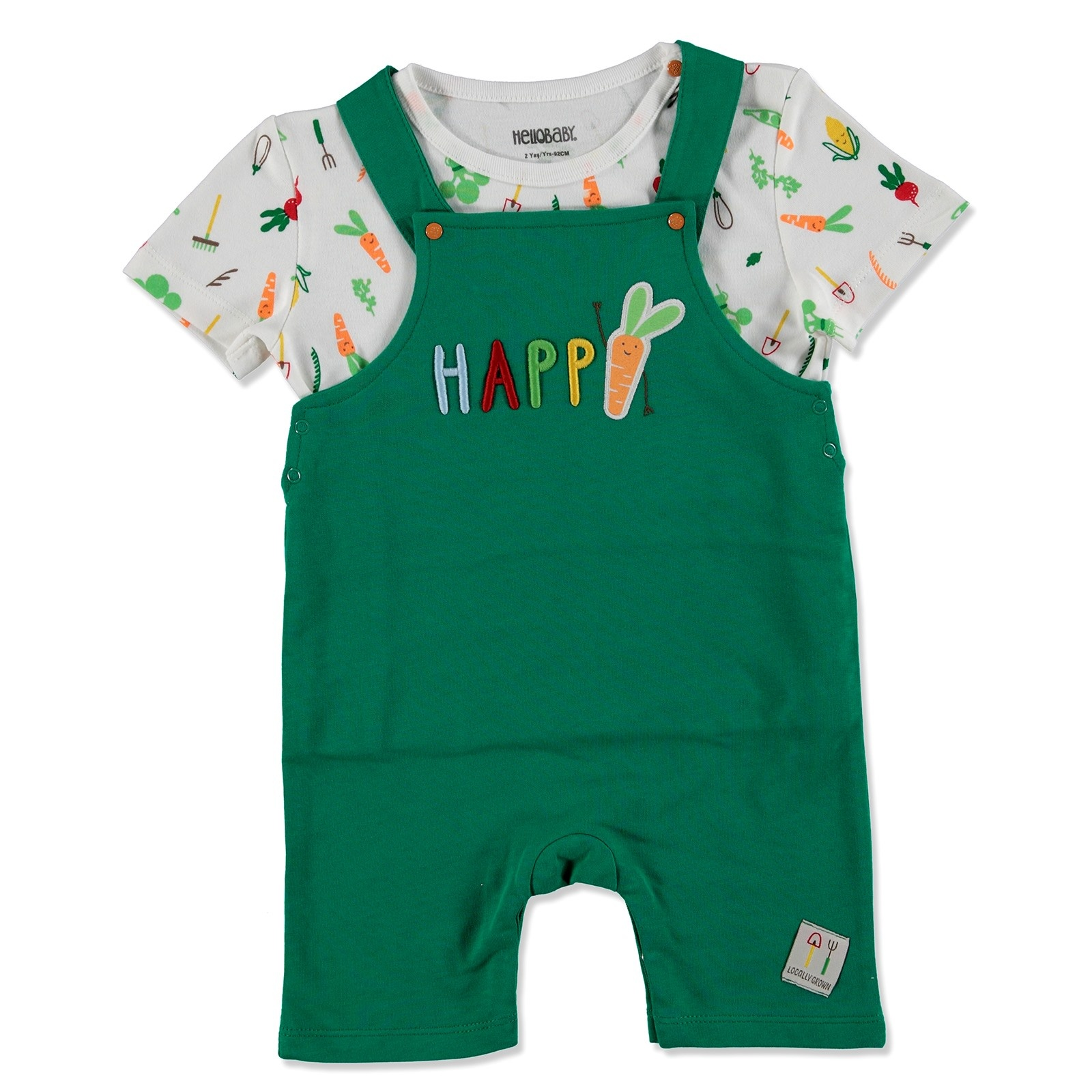 Ebebek HelloBaby Summer Baby Sweet Vegetables Sweatshirt Dungarees Set