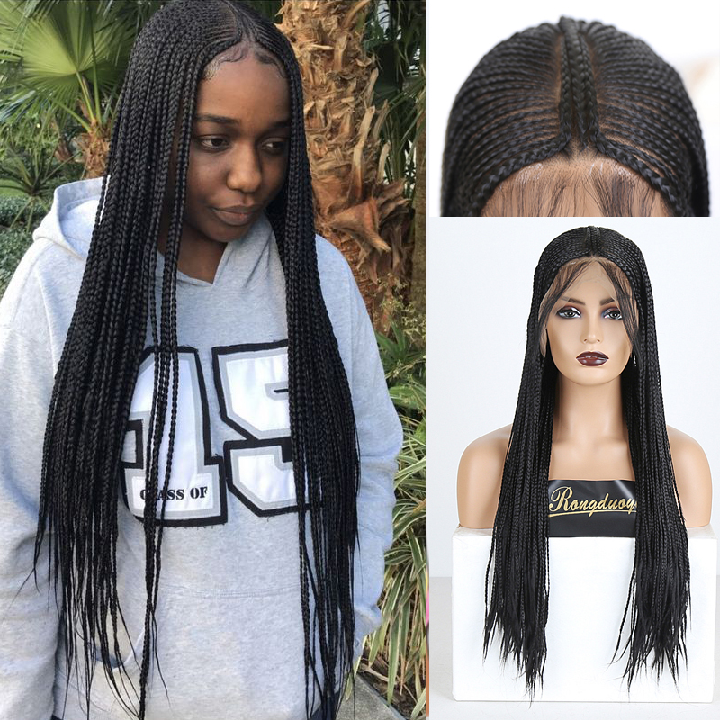 RONGDUOYI Long Braided Box Braids Wigs For Women Middle Part Synthetic Lace Front Wig Black Heat Resistant Fiber Hair Lace Wigs