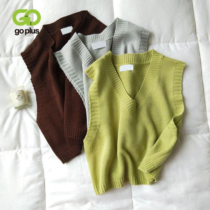 GOPLUS gilet lavorato a maglia con scollo a v da donna 2021 New Spring Autumn maglione gilet corto femminile Casual senza maniche Twist Knit pullover C9510 1