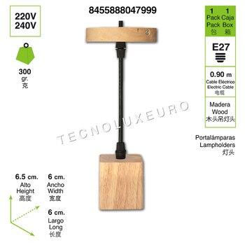 Lámpara Iluminación colgante madera Rosca E27 para el Restaurante Dormitorio Sala de...