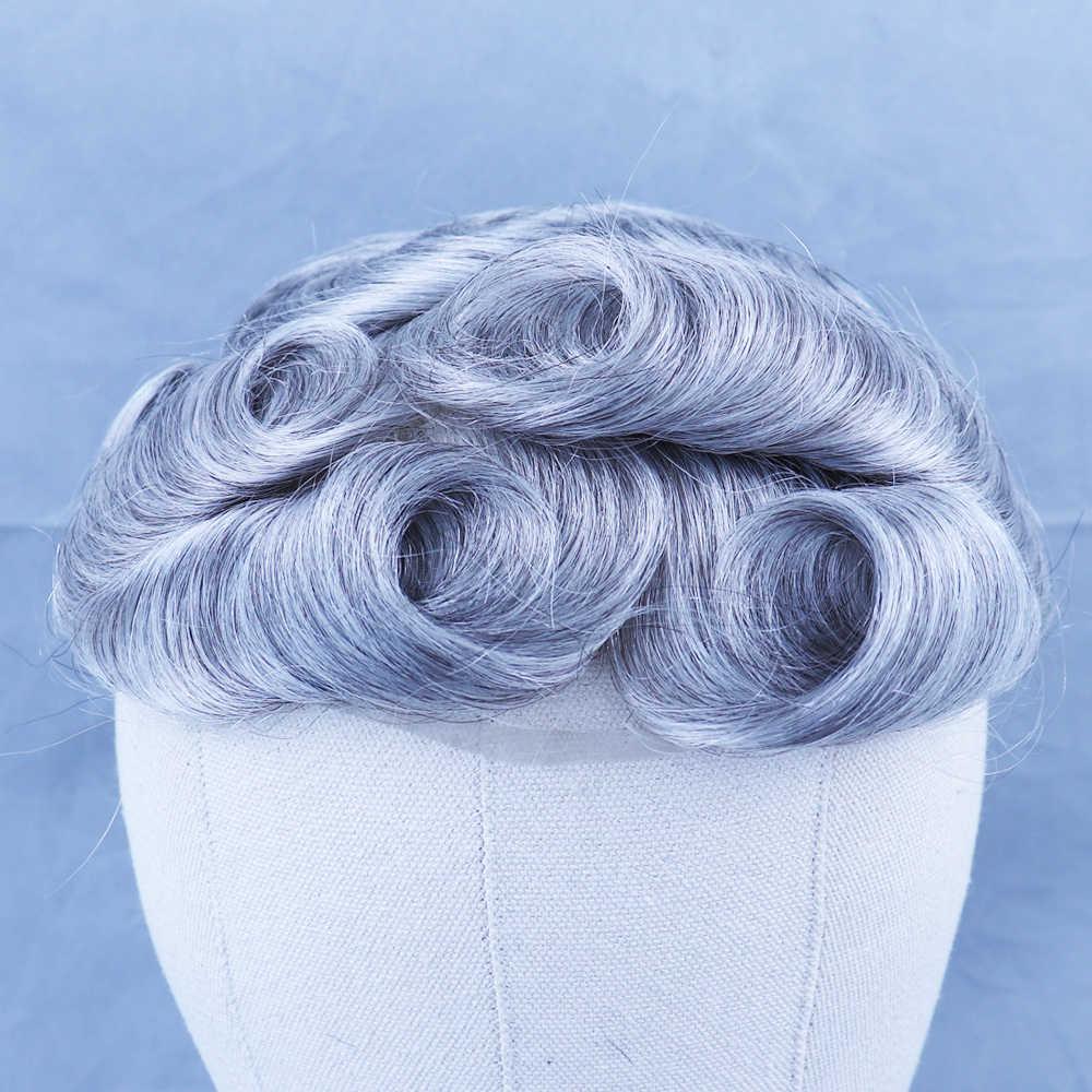 YY pelucas 1B tupé de cabello humano gris mezclado para hombres sistema de reemplazo de cabello humano Remy brasileño para hombres tupé de piel rizada de 30mm