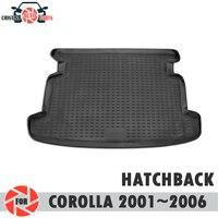 Toyota corolla 용 트렁크 매트 2001 ~ 2006 hatchback trunk floor rugs 미끄럼 방지 폴리 우레탄 먼지 보호 인테리어 카 스타일링