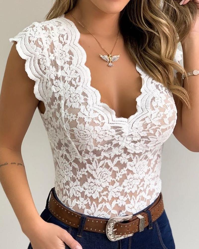 2020 Fashion Women Casual Sleeveless Bodysuit V Neck Lace Shirt Sexy Sheer Mesh Lace Sleeveless Blouse