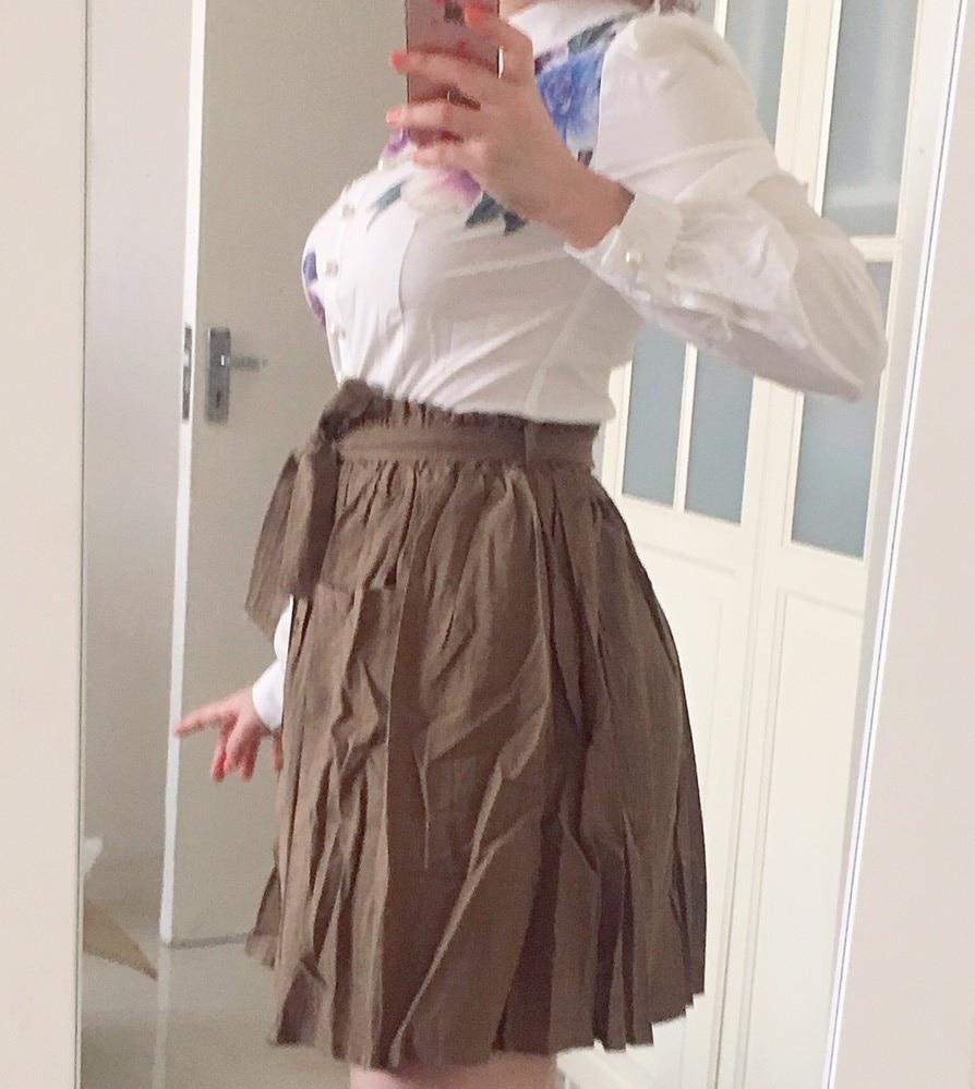 Women Skirts Vintage High Waist Pocket Solid Bow Belt Midi Skirt New Arrival Summer Europe Army Green Girls Skirt Faldas photo review