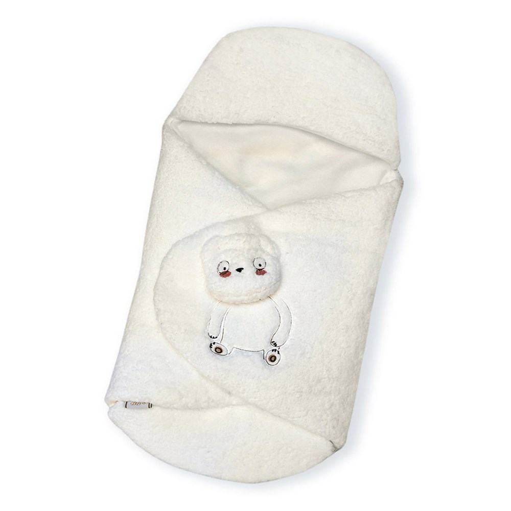 Newborn Baby Blanket Swaddle Sleeping Bag Kids Toddler Sleep Sack Stroller Wrap Bear Embroidery White Cream