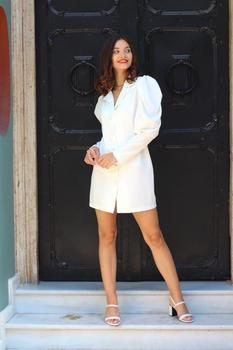 Satin White Luxury Mini Night Dress Buttoned V Neck Princess Sleeve Mini Shirt Shiny Sexy Luxury Classy Woman Dress