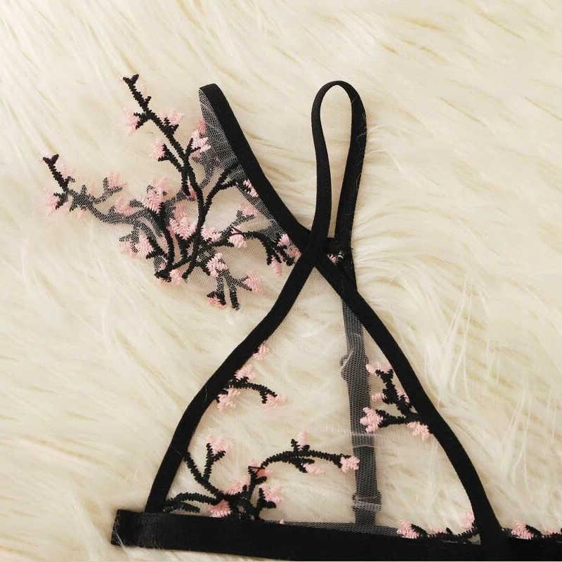 LOPNT 섹시한 Bralette 3/4 컵 브래지어는 여성을위한 속옷을 설정 와이어 무료 얇은 란제리 세트 통기성 편안한 intimates 브래지어 세트