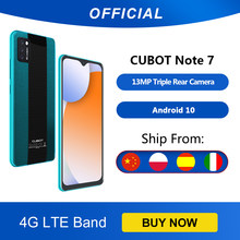 Cubot Note 7 Smartphone Triple Camera13MP 4G Lte 5.5 Inch Scherm 3100Mah Android 10 Dual Sim-kaart mobiele Telefoon Gezicht Unlock 2GB+16GB